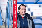 Unai Emery of Arsenal (Manager) watching the warm up during the Premier League match between Huddersfield Town and Arsenal at the John Smiths Stadium, Huddersfield, England on 9 February 2019.