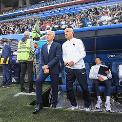 Didier Deschamps coach of France and Guy stephan assistant coach during the Semi Final FIFA World Cup match between France and Belgium at Krestovsky Stadium on July 10, 2018 in Saint Petersburg, Russia. (Photo by Anthony Dibon/Icon Sport)