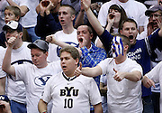BYU fans react to a foul call during the first half of an NCAA college basketball game, Saturday Dec. 11, 2010 in Salt Lake City. (AP Photo/Colin E Braley)
