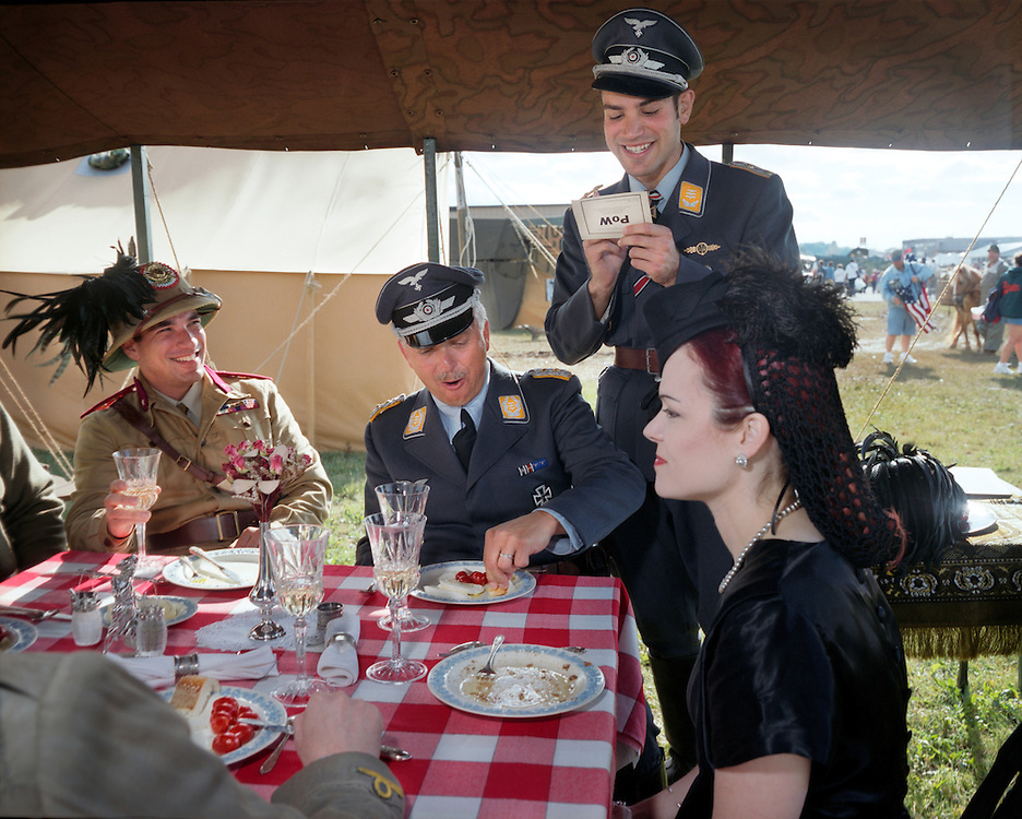 Axis Forces Luncheon, World War II Reenactment, Reading, PA..Reenactors enjoy a gourmet lunch at the World War II reenactment in Reading, Pennsylvania.<br />