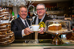 "Pictured: Keith Brown and SNP PPC John Nicholson were shown the barista ropes by Carolyn Scagall<br /> <br /> Keith Brown joined SNP candidate for Ochil and South Perthshire, John Nicolson, on the campaign trail in Auchterarder today.    The SNP Depute Leader said that Scottish voters hold ""the key to locking Boris Johnson out of power.""<br />  <br /> Mr Brown welcomed local activists when they repaired to Cafe Kisa for a welcome warming drink.<br /> <br /> Ger Harley 