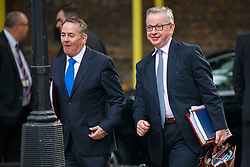 © Licensed to London News Pictures. 18/07/2017. International Trade Secretary LIAM FOX and Environment Secretary MICHAEL GOVE attend a cabinet meeting in Downing Street, London on Tuesday, 18 July 2017 London, UK. Photo credit: Tolga Akmen/LNP
