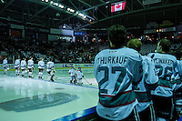 KELOWNA, CANADA - FEBRUARY 5: The Kelowna Rockets and the Pepsi Players line up against the Spokane Chiefs on February 5, 2016 at Prospera Place in Kelowna, British Columbia, Canada.  (Photo by Marissa Baecker/Shoot the Breeze)  *** Local Caption ***