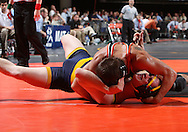07 MARCH 2009: Wartburg's Aaron Wernimont (top) works on pinning Ithaca's William Horwath in the 157-pound quarterfinal at the 2009 NCAA Division III Wrestling Championships at the US Cellular Center in Cedar Rapids, Iowa on Friday March 7, 2009. Wernimont pinned Horwath in 3:23.