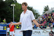 Picture by Ste Jones/Focus Images Ltd.  07706 592282.23/06/12.Peter Fleming plays up to the crowd during the +medicash Liverpool International 2012 tennis at Calderstones Park, Liverpool.