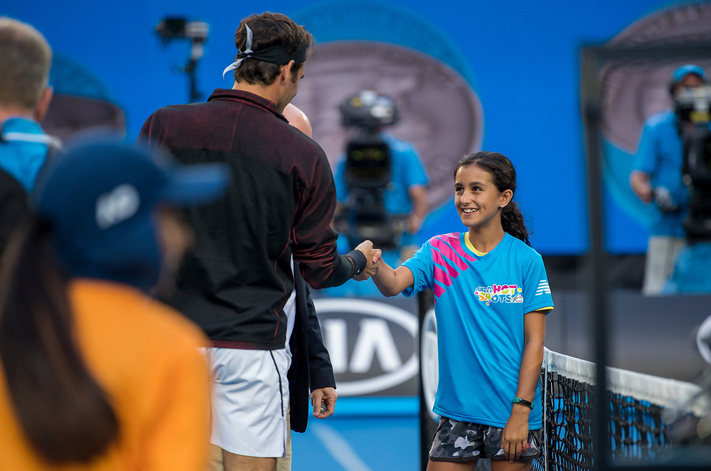 Coin toss on day nine of the 2018 Australian Open in Melbourne Australia on Wednesday January 24, 2018.<br /> (Ben Solomon/Tennis Australia)