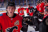 PENTICTON, CANADA - SEPTEMBER 8: Mark Jankowski #77 of Calgary Flames celebrates a second period goal against the Edmonton Oilers on September 8, 2017 at the South Okanagan Event Centre in Penticton, British Columbia, Canada.  (Photo by Marissa Baecker/Shoot the Breeze)  *** Local Caption ***