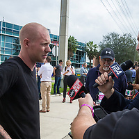 White Nationalist Tyler Tinbrink speaks to the press prior to the Richard Spencer speech at the Phillips Center for the Performing Arts on the University of Florida campus in Gainesville, Florida on Thursday, October 18, 2017. (Alex Menendez)