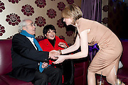 Michel Legrand; Liza Minnelli; Annette Mclachlan;, THE UMBRELLAS OF CHERBOURG PRESS NIGHT FOLLOWED BY A PARTY AT STUDIO VALBONNE, 62 KINGLY STREET, London. 22 March 2011. <br />  -DO NOT ARCHIVE-© Copyright Photograph by Dafydd Jones. 248 Clapham Rd. London SW9 0PZ. Tel 0207 820 0771. www.dafjones.com.