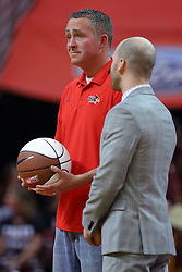 19 February 2017:  Hyvee manager Andy Cochran during a College MVC (Missouri Valley conference) mens basketball game between the Loyola Ramblers and Illinois State Redbirds in  Redbird Arena, Normal IL