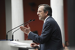 The leader of Nea Dimokratia and favorite to win the elections Antonis Samaras gave his first major pre election speech at Zapeion Megaron in Athens.Photo By Imago/i-Images