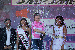 Anna van der Breggen (NED) of Boels-Dolmans Cycling Team celebrates remaining in the overall leader's pink jersey after Stage 9 of the Giro Rosa - a 122.3 km road race, between Centola fraz. Palinuro and Polla on July 8, 2017, in Salerno, Italy. (Photo by Balint Hamvas/Velofocus.com)