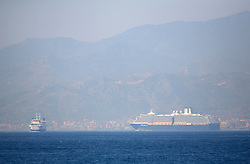 ITALY SICILY 30APR08 - Large passenger ship crosses the Strait of Messina, a narrow gap between the southern Tip of Italy and Sicily seen from aboard the Greenpeace ship Arctic Sunrise in the Mediterranean...jre/Photo by Jiri Rezac..© Jiri Rezac 2008..Contact: +44 (0) 7050 110 417.Mobile:  +44 (0) 7801 337 683.Office:  +44 (0) 20 8968 9635..Email:   jiri@jirirezac.com.Web:    www.jirirezac.com..© All images Jiri Rezac 2007 - All rights reserved.