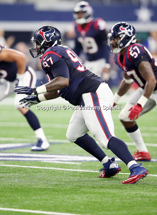 Houston Texans defensive end Jeoffrey Pagan (97) chases the action during the 2015 NFL preseason football game against the Dallas Cowboys on Thursday, Sept. 3, 2015 in Arlington, Texas. The Cowboys won the game 21-14. (©Paul Anthony Spinelli)