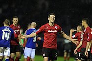 Cardiff city's capt Mark Hudson celebrates his sides win at the end of the game. NPower championship, Leicester city v Cardiff city at the King Power stadium in Leicester on Saturday 22nd Dec 2012. pic by Andrew Orchard, Andrew Orchard sports photography,