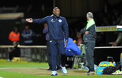 QPR's Manager Chris Ramsey argues - Photo mandatory by-line: Harry Trump/JMP - Mobile: 07966 386802 - 11/08/15 - SPORT - FOOTBALL - Capital One Cup - First Round - Yeovil Town v QPR - Huish Park, Yeovil, England.