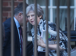 © Licensed to London News Pictures. 02/07/2018. London, UK. Prime Minister Theresa May arrives at the back entrance to Downing Street. Later in the week the prime minister will hold a cabinet meeting at Chequers. Photo credit: Peter Macdiarmid/LNP