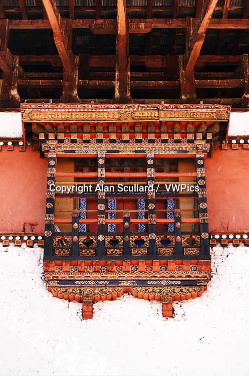 Window detail in Paro Dzong (Temple) in Bhutan.