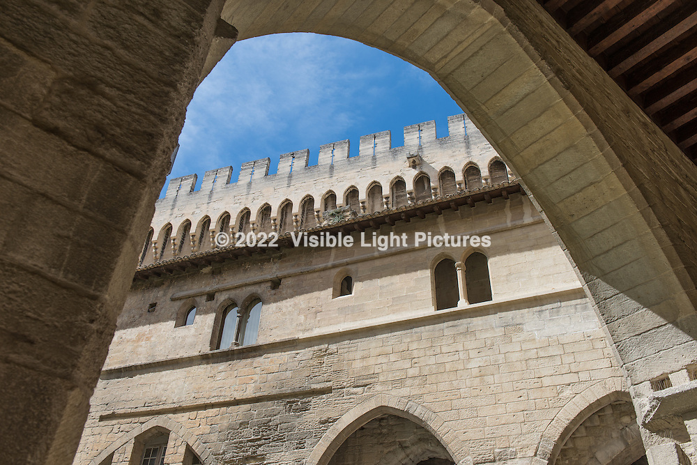 A view of the courtyard structures from within the Pope's Palace in Avignon
