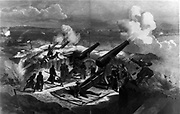 Franco-Prussian War 1870-1871:  Prussian artillery battery bombarding besieged Paris, January 1871. The Prussians are suffering casualties from incoming fire.  France
