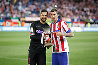 Atletico de Madrid´s goalkeeper Moya and Mandzukic after winning the 2014 Supercopa de España `Spain Supercup´  at Vicente Calderon stadium. August 22, 2014. (ALTERPHOTOS/Victor Blanco)