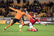 Aden Flint scores for Bristol City 1-1 during the Sky Bet Championship match between Wolverhampton Wanderers and Bristol City at Molineux, Wolverhampton, England on 8 March 2016. Photo by Daniel Youngs.