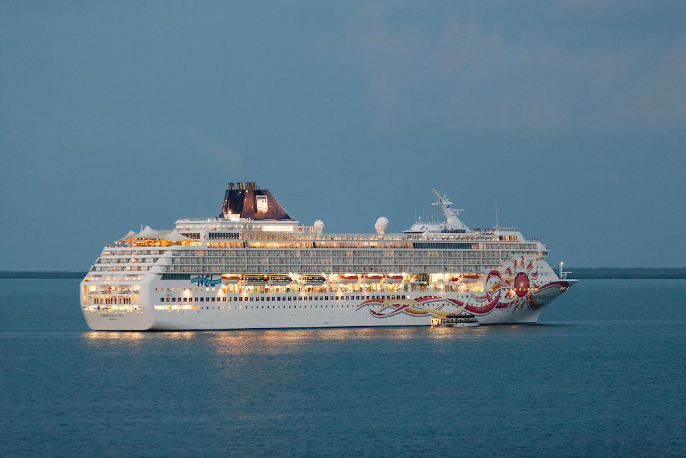 Cruise ship underway in the evening.