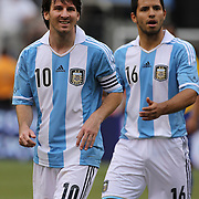 Lionel Messi, Argentina, (left) and team mate Sergio Aguero during the Brazil V Argentina International Football Friendly match at MetLife Stadium, East Rutherford, New Jersey, USA. 9th June 2012. Photo Tim Clayton