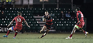 Dragons' Jared Rosser spots a gap between Edinburghs' James Johnstone and Junior Rasolea.<br /> <br /> Photographer Simon Latham/Replay Images<br /> <br /> Guinness PRO14 - Dragons v Edinburgh - Friday 23rd February 2018 - Eugene Cross Park - Ebbw Vale<br /> <br /> World Copyright © Replay Images . All rights reserved. info@replayimages.co.uk - http://replayimages.co.uk