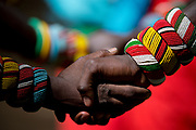 Samburu people shaking hands