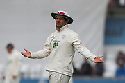 Rilee Roussouw of Hampshire holds his hands out in despair as the rain fallls yet again during the opening day of the Specsavers County Champ Div 1 match between Yorkshire County Cricket Club and Hampshire County Cricket Club at Headingley Stadium, Headingley, United Kingdom on 27 May 2019.