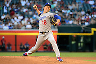PHOENIX, AZ - JUNE 14:  Kenta Maeda #18 of the Los Angeles Dodgers delivers a pitch in the first inning of the game against the Arizona Diamondbacks at Chase Field on June 14, 2016 in Phoenix, Arizona. Los Angeles Dodgers won 7-4.  (Photo by Jennifer Stewart/Getty Images)