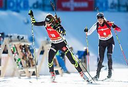 BOLLIET Marine (FRA) and CRAWFORD Rosanna (CAN) compete during Women 12,5 km Mass Start at day 4 of IBU Biathlon World Cup 2014/2015 Pokljuka, on December 21, 2014 in Rudno polje, Pokljuka, Slovenia. Photo by Vid Ponikvar / Sportida