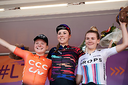 Top three on the stage: Lisa Klein (GER), Marta Lach (POL) and Anna Christian (GBR) at Lotto Thüringen Ladies Tour 2019 - Stage 4, a 114.8 km road race in Gotha, Germany on May 31, 2019. Photo by Sean Robinson/velofocus.com