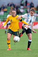 MELBOURNE, VIC - MARCH 06: Aldana Cometti (6) of Argentina competes with Caitling Foord (9) of Australia during The Cup of Nations womens soccer match between Australia and Argentina on March 06, 2019 at AAMI Park, VIC. (Photo by Speed Media/Icon Sportswire)