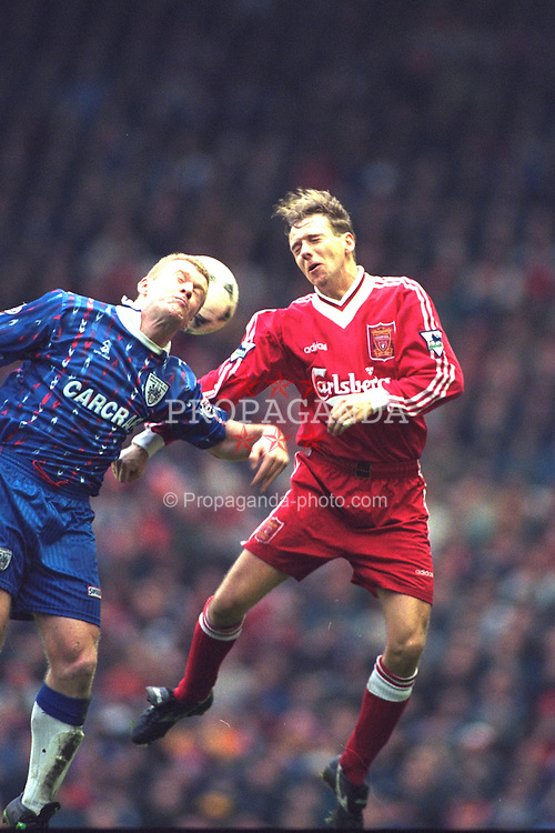 LIVERPOOL, ENGLAND - Saturday, January 6, 1996: Liverpool's Rob Jones in action against Rochdale during the FA Cup 3rd Round match at Anfield. (Photo by David Rawcliffe/Propaganda)