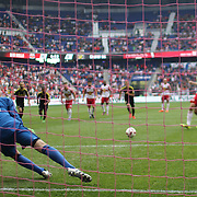 HARRISON, NEW JERSEY- OCTOBER 16: Goalkeeper  Brad Stuver #41 of Columbus Crew saves a penalty kick from Sacha Kljestan #16 of New York Red Bulls during the New York Red Bulls Vs Columbus Crew SC MLS regular season match at Red Bull Arena, on October 16, 2016 in Harrison, New Jersey. (Photo by Tim Clayton/Corbis via Getty Images)
