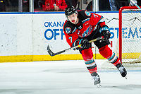 KELOWNA, BC - MARCH 11: Conner McDonald #7 of the Kelowna Rockets completes a pass during second period against the Victoria Royals at Prospera Place on March 11, 2020 in Kelowna, Canada. (Photo by Marissa Baecker/Shoot the Breeze)