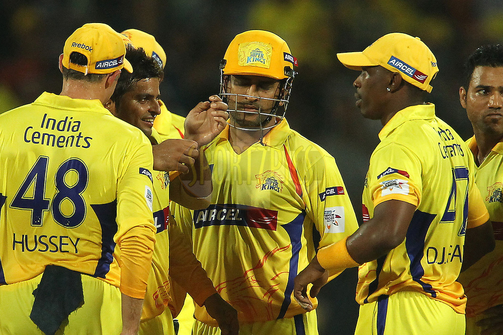 Suresh raina celebrates the wicket of Aiden Blizzard during match 3 of the NOKIA Champions League T20 ( CLT20 )between the Chennai Superkings and the Mumbai Indians held at the M. A. Chidambaram Stadium in Chennai , Tamil Nadu, India on the 24th September 2011..Photo by Ron Gaunt/BCCI/SPORTZPICS