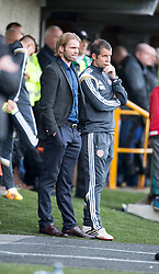 Hearts Head Coach Robbie Neilson and Stevie Crawford. <br /> Alloa Athletic 0 v 1 Hearts, Scottish Championship played at Recreation Park, Alloa.