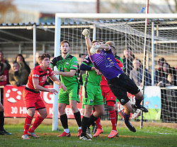 TOM PRICE GOALKEEPER  GOSPORT BOROUGH FC SAVES ANOTHER ATTACK FROM KETTERING TOWN,  Kettering Town v Gosport Borough FC, Evo Stik Southern Premier League Latimer Park Saturday 25th November 2017, Score 2-0.<br /> Photo:Mike Capps