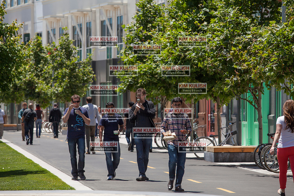 "Scenes of daily work and life at Facebook', Inc. USA Headquarters in Menlo Park, California.  Facebook employees and visitors walk through ""Hacker Square."""