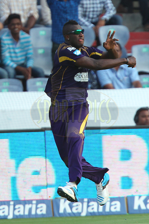 Andre RUSSELL of the Kolkata Knight Riders  during the first semi final match of the Oppo Champions League Twenty20 between the Kolkata Knight Riders and the Hobart Hurricanes held at the Rajiv Gandhi Cricket Stadium, Hyderabad, India on the 2nd October 2014<br /> <br /> Photo by:  Ron Gaunt / Sportzpics/ CLT20<br /> <br /> <br /> Image use is subject to the terms and conditions as laid out by the BCCI/ CLT20.  The terms and conditions can be downloaded here:<br /> <br /> http://sportzpics.photoshelter.com/gallery/CLT20-Image-Terms-and-Conditions-2014/G0000IfNJn535VPU/C0000QhhKadWcjYs