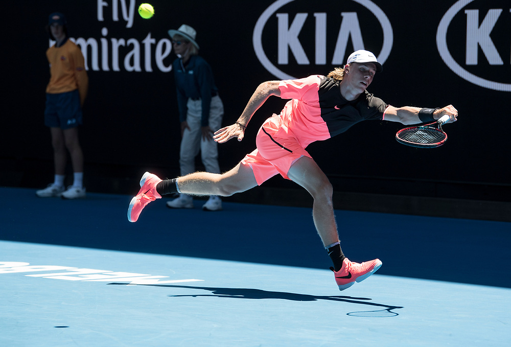 Denis Shapovalov of Canada on day three of the 2018 Australian Open in Melbourne Australia on Wednesday January 17, 2018..<br /> (Ben Solomon/Tennis Australia)