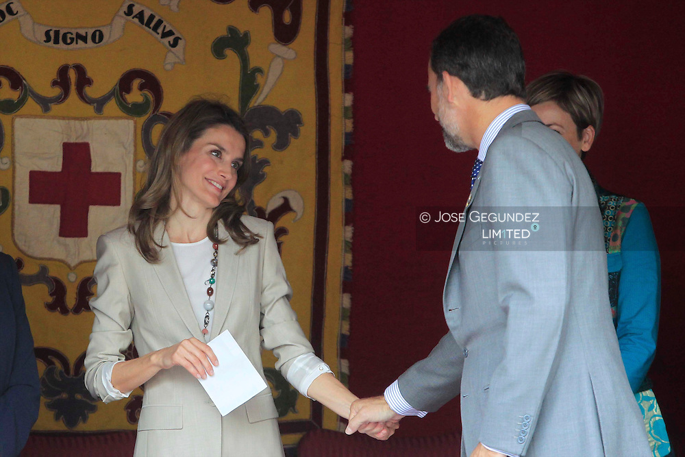 Princess Letizia of Spain and Prince Felipe of Spain at the the Red Cross Fundraising Day in Madrid