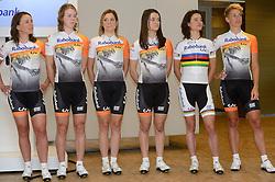13-01-2014 WIELRENNEN: PRESENTATIE RABOBANK LIV DAMESTEAM 2014: UTRECHT<br /> In het hoofdkantoor van Rabobank Nederland werd het Rabo damesteam gepresenteerd / (L-R) Annemiek van Vleuten, Thalita de Jong, Roxanne Kneteman, Anna Knauer, Marianne Vos en Iris Slappendal<br /> &copy;2014-FotoHoogendoorn.nl