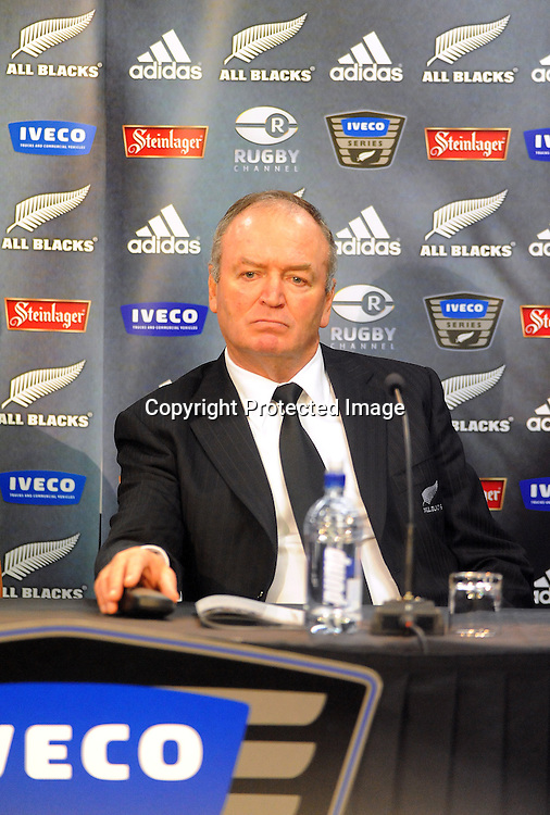 All Blacks coach Graham Henry talks to the media after the Test Match between the All Blacks v Italy. Iveco Test Series, Jade Stadium, Wellington, New Zealand. Saturday 27 June 2009. Photo:PHOTOSPORT