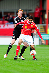 Crewe Alexandra's Kevin Mellor controls the ball under pressure from Bristol City's Ryan Taylor - Photo mandatory by-line: Dougie Allward/JMP - Tel: Mobile: 07966 386802 19/10/2013 - SPORT - FOOTBALL - Alexandra Stadium - Crewe - Crewe V Bristol City - Sky Bet League One