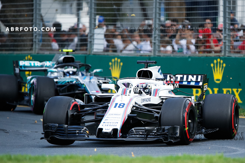 Williams driver Lance Stroll of Canada during the 2018 Rolex Formula 1 Australian Grand Prix at Albert Park, Melbourne, Australia, March 24, 2018.  Asanka Brendon Ratnayake