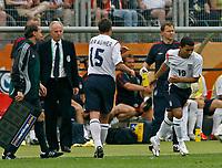 Photo: Glyn Thomas.<br />England v Trinidad & Tobago. Group B, FIFA World Cup 2006. 15/06/2006.<br /> England's Aaron Lennon (R) replaces Jamie Carragher.